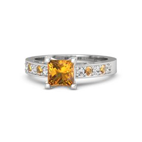 Princess Citrine Sterling Silver Ring with White Sapphire and Citrine