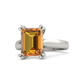 Emerald-Cut Citrine 14K White Gold Ring