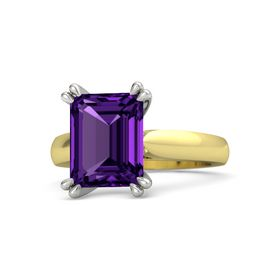 Emerald Amethyst 14K Yellow Gold Ring