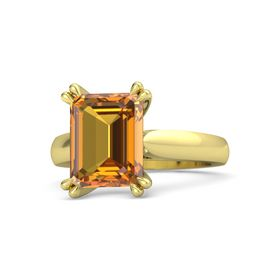 Emerald-Cut Citrine 18K Yellow Gold Ring