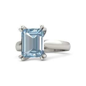 Emerald-Cut Aquamarine Platinum Ring
