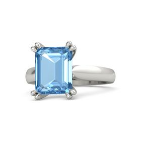 Emerald-Cut Blue Topaz Platinum Ring