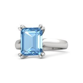 Emerald Blue Topaz Sterling Silver Ring