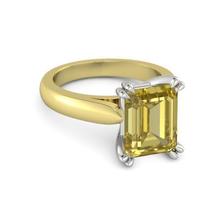 emerald cut yellow sapphire 14k yellow gold ring