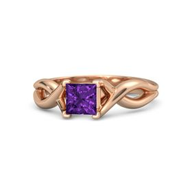 Princess Amethyst 14K Rose Gold Ring