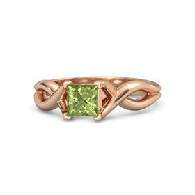 Princess Peridot 14K Rose Gold Ring