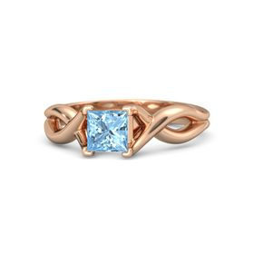 Princess Blue Topaz 14K Rose Gold Ring
