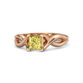 Princess Yellow Sapphire 14K Rose Gold Ring