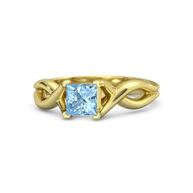 Princess Blue Topaz 14K Yellow Gold Ring