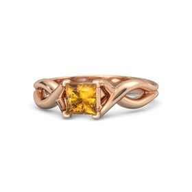 Princess Citrine 18K Rose Gold Ring