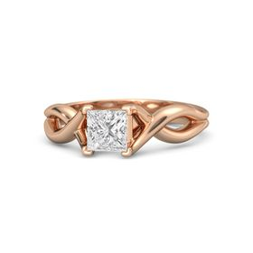 Princess White Sapphire 18K Rose Gold Ring