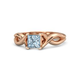 Princess Aquamarine 18K Rose Gold Ring