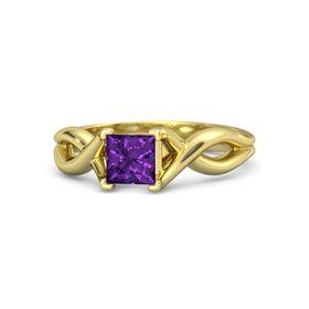 Princess Amethyst 18K Yellow Gold Ring