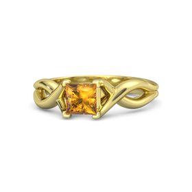 Princess Citrine 18K Yellow Gold Ring