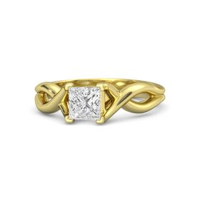 Princess White Sapphire 18K Yellow Gold Ring