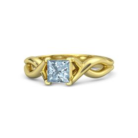 Princess Aquamarine 18K Yellow Gold Ring