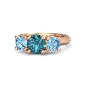 Round London Blue Topaz 14K Rose Gold Ring with Blue Topaz