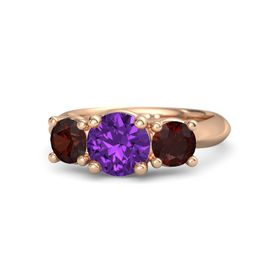 Round Amethyst 14K Rose Gold Ring with Red Garnet