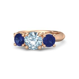 Round Aquamarine 14K Rose Gold Ring with Sapphire