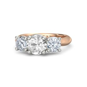 Round Rock Crystal 14K Rose Gold Ring with Moissanite