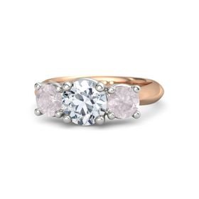 Round Diamond 14K Rose Gold Ring with Rose Quartz