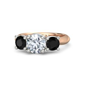 Round Diamond 14K Rose Gold Ring with Black Onyx