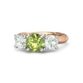 Round Peridot 14K Rose Gold Ring with Green Amethyst