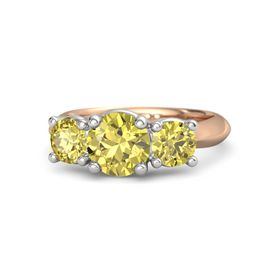 Round Yellow Sapphire 14K Rose Gold Ring with Yellow Sapphire
