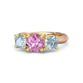 Round Pink Sapphire 14K Rose Gold Ring with Aquamarine
