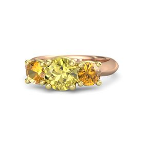 Round Yellow Sapphire 14K Rose Gold Ring with Citrine