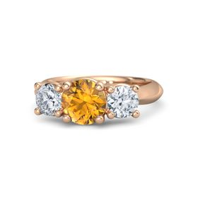 Round Citrine 14K Rose Gold Ring with Moissanite