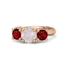 Round Rose Quartz 14K Rose Gold Ring with Ruby