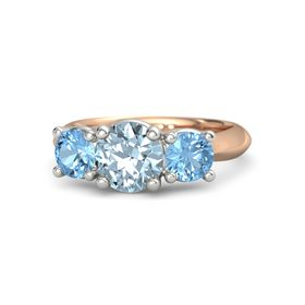 Round Aquamarine 14K Rose Gold Ring with Blue Topaz