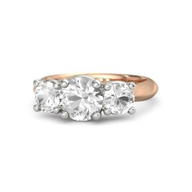 Round Rock Crystal 14K Rose Gold Ring with Rock Crystal