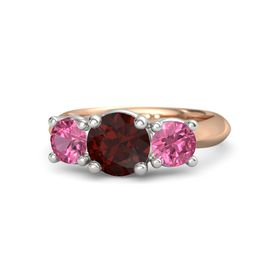 Round Red Garnet 14K Rose Gold Ring with Pink Tourmaline
