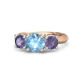 Round Blue Topaz 14K Rose Gold Ring with Iolite