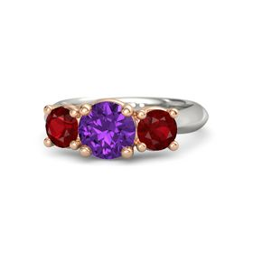 Round Amethyst 14K White Gold Ring with Ruby