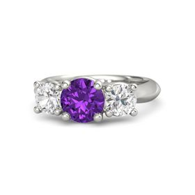 Round Amethyst 14K White Gold Ring with White Sapphire