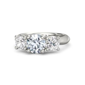 Round Diamond 14K White Gold Ring with White Sapphire