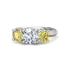 Round Moissanite 14K White Gold Ring with Yellow Sapphire