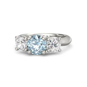 Round Aquamarine 14K White Gold Ring with White Sapphire