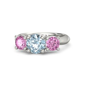Round Aquamarine 14K White Gold Ring with Pink Sapphire