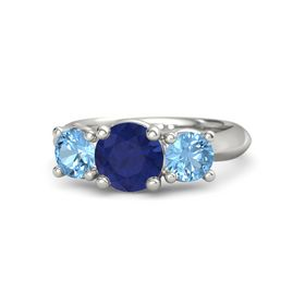 Round Sapphire 14K White Gold Ring with Blue Topaz