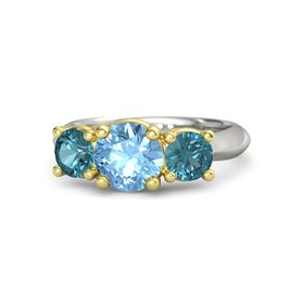 Round Blue Topaz 14K White Gold Ring with London Blue Topaz