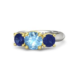 Round Blue Topaz 14K White Gold Ring with Blue Sapphire