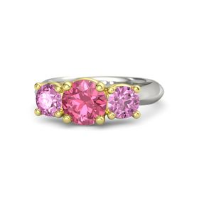 Round Pink Tourmaline 14K White Gold Ring with Pink Sapphire