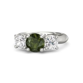 Round Green Tourmaline 14K White Gold Ring with White Sapphire
