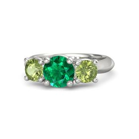 Round Emerald 14K White Gold Ring with Peridot