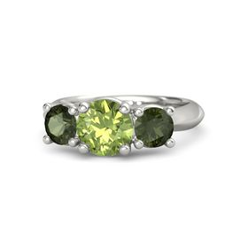 Round Peridot 14K White Gold Ring with Green Tourmaline