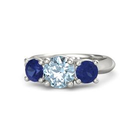 Round Aquamarine 14K White Gold Ring with Sapphire